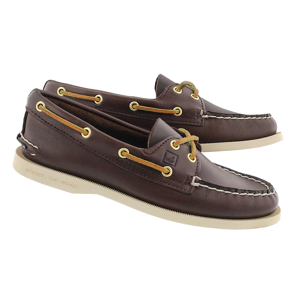 Lds A/O 2-eye brown boat shoe