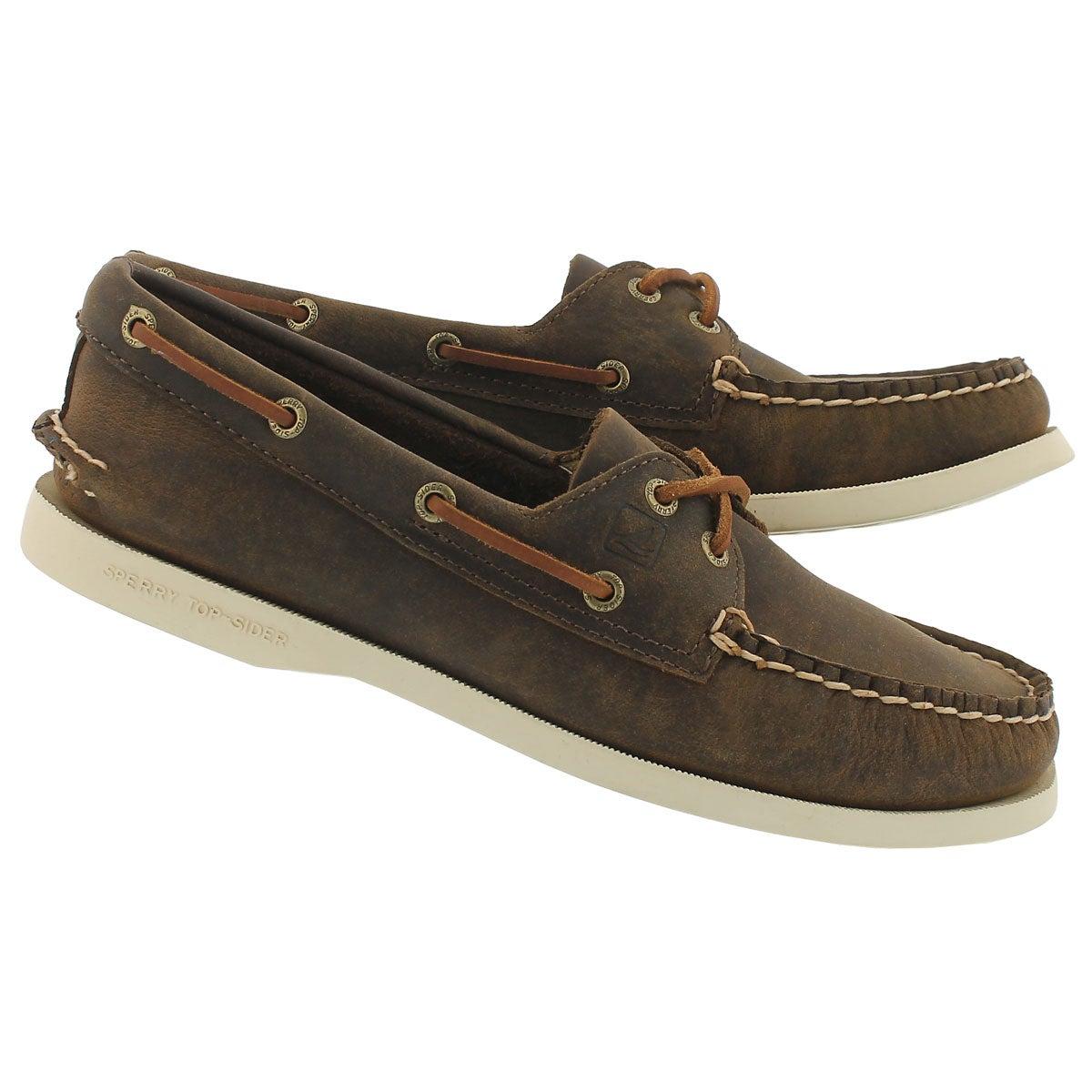 Lds A/O 2-eye brn distressed boat shoe