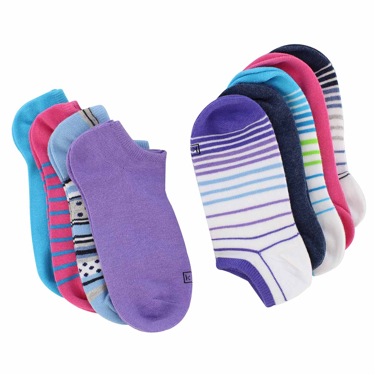 Lds Solid/Stripes multi ankle sock- 9 pk