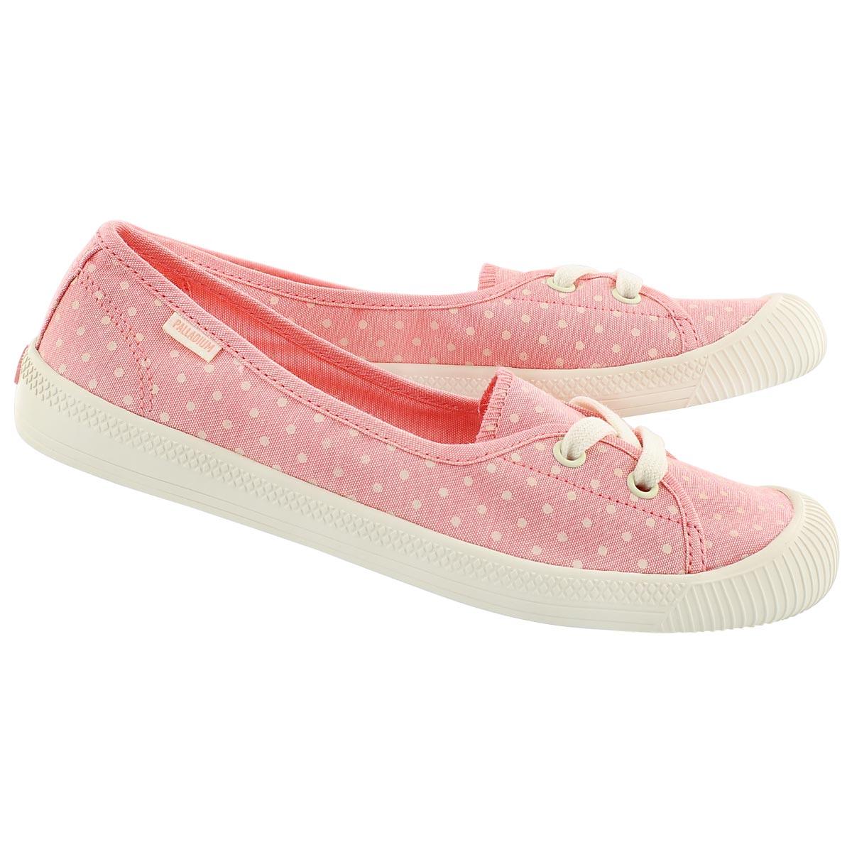 Lds Flex Ballet peach/wht dots sneaker