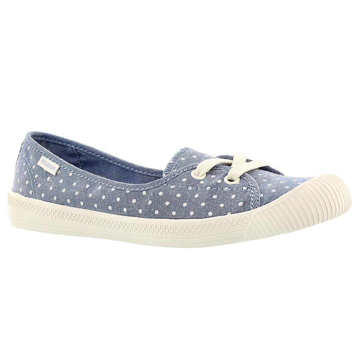 Lds Flex Ballet blue/wht dots sneaker