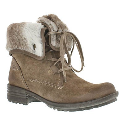 Josef Seibel Women's SANDRA 04 taupe lace-up boots