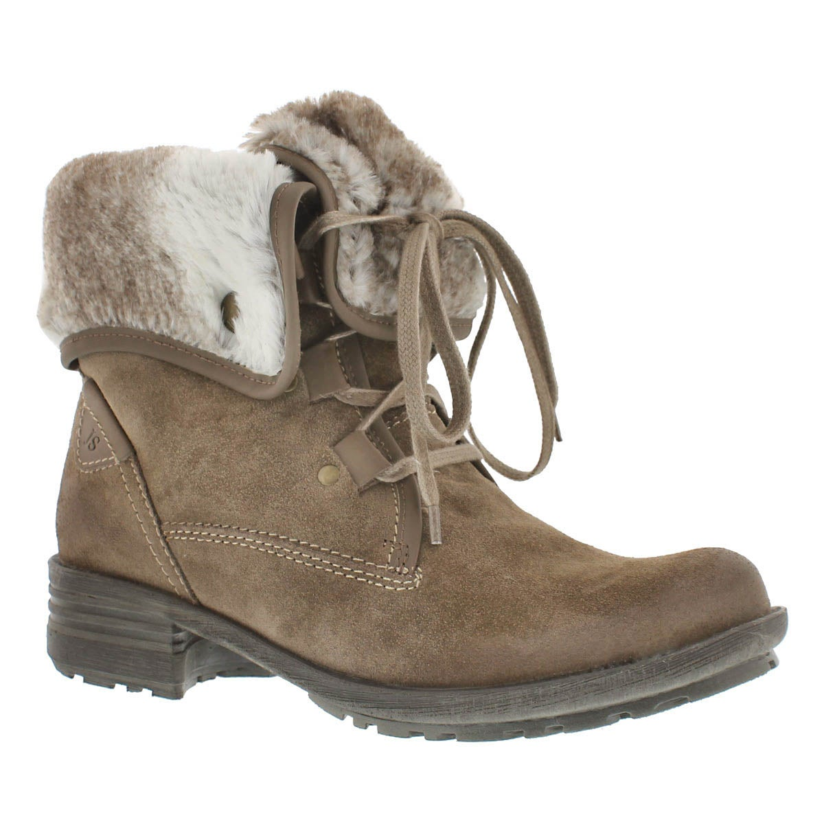 Lds Sandra 04 taupe lace-up boot