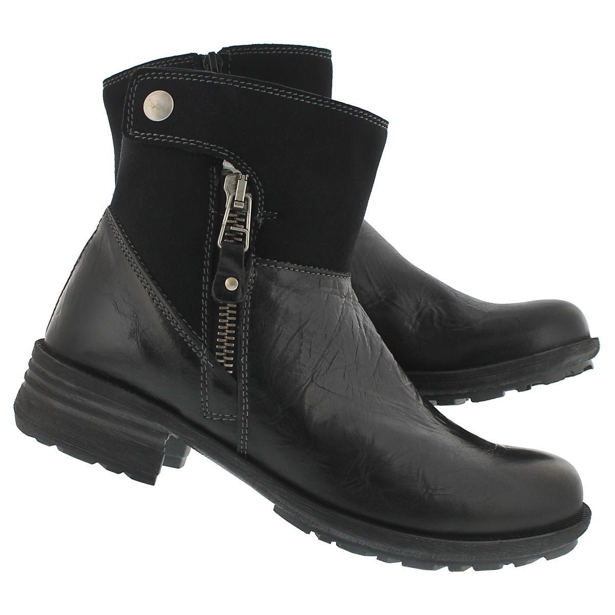 Lds Sandra 24 blk lthr zip up ankle boot