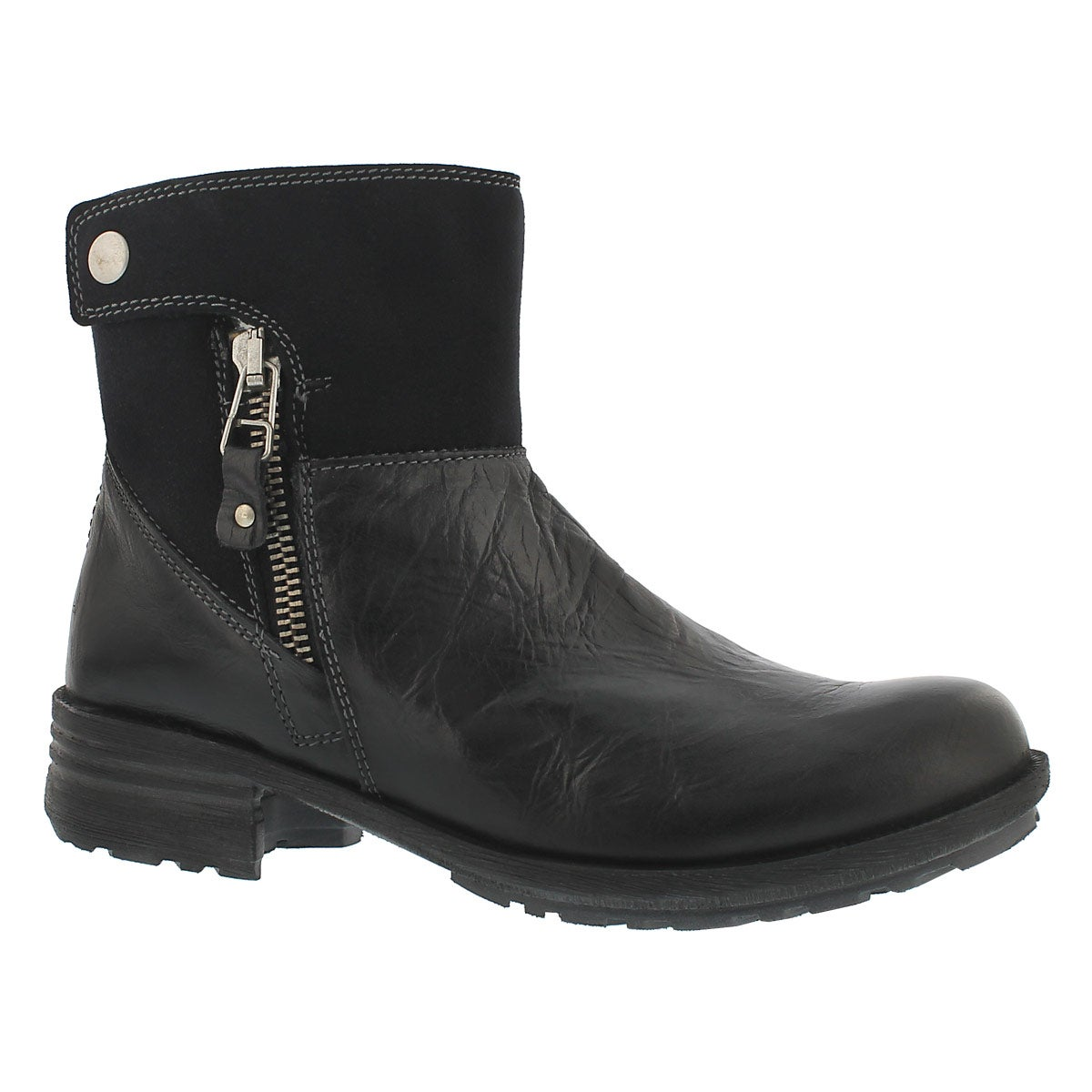 Women's SANDRA 24 blk leather zip up ankle boots