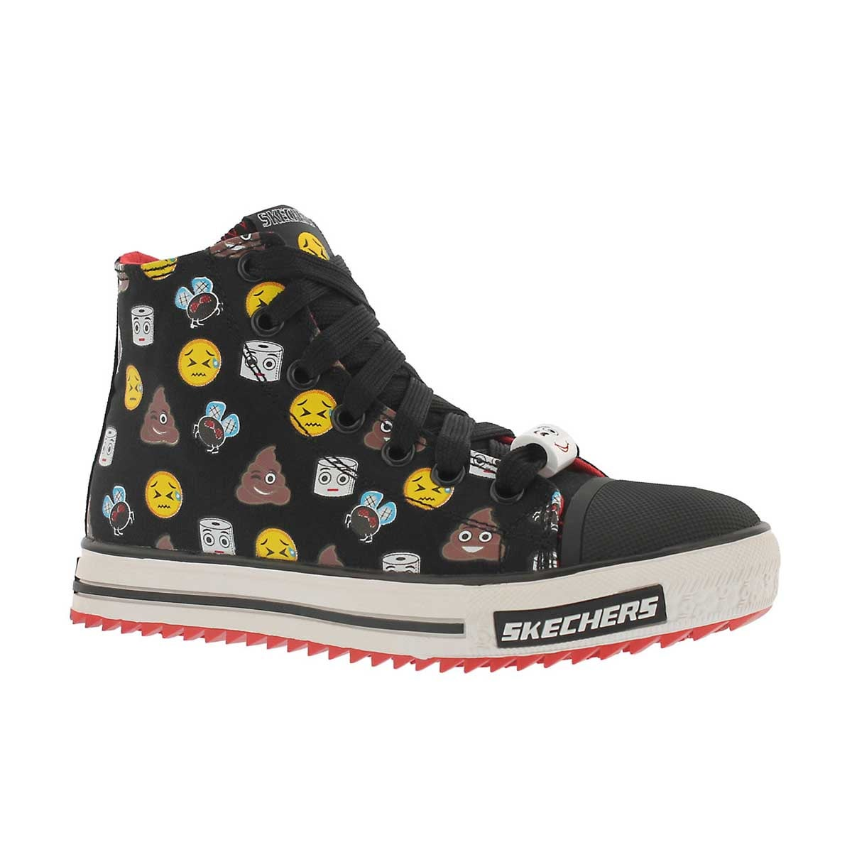 Boys' JAGGED black emoji high top sneakers