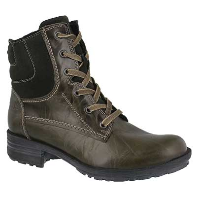 Lds Sandra 64 olive lace up casual boot