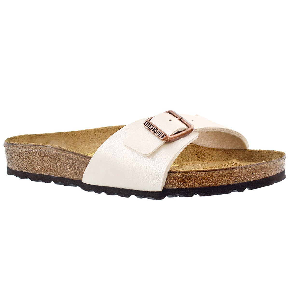 Women's MADRID pearlized white single strap sandal