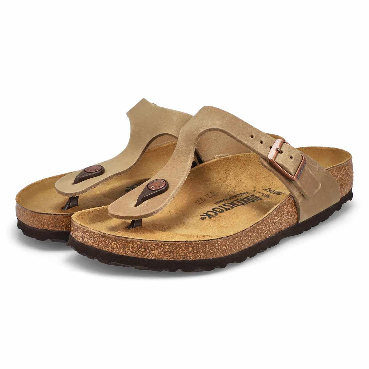 Sandales tongs Gizeh, cuir tabac, fem
