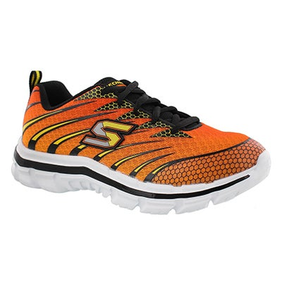 Skechers Boys' NITRATE orange/black lace up sneakers