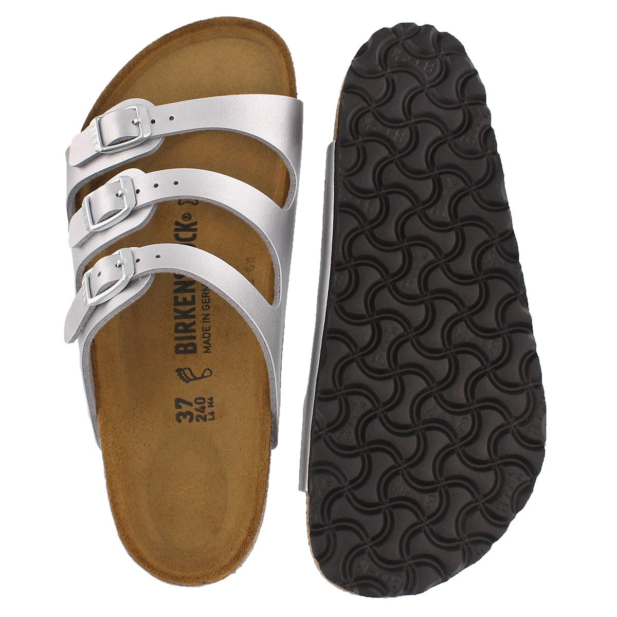Lds Florida silver BF 3 strap sandal
