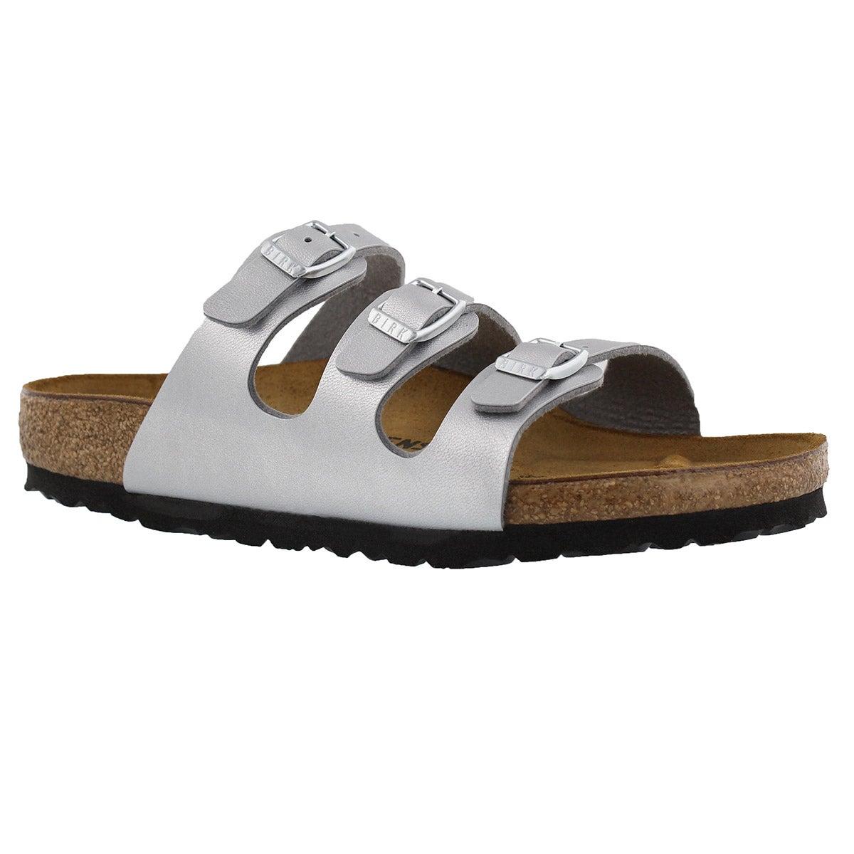 Women's FLORIDA silver BF 3 strap sandals