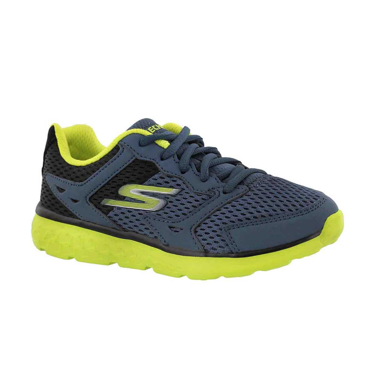 Boys' GOrun 400 blue/lime lace up sneakers