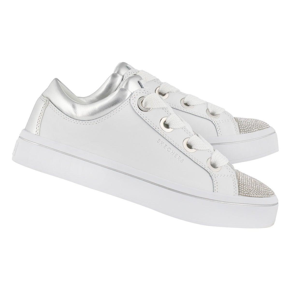 Lds Hi-Lites wht/slvr lace up sneaker