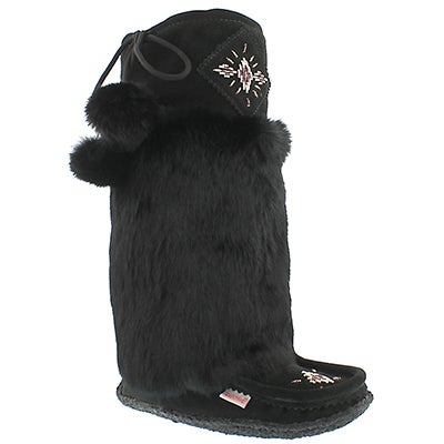 "SoftMoc Women's 980447 black rabbit fur 16"" mukluks"