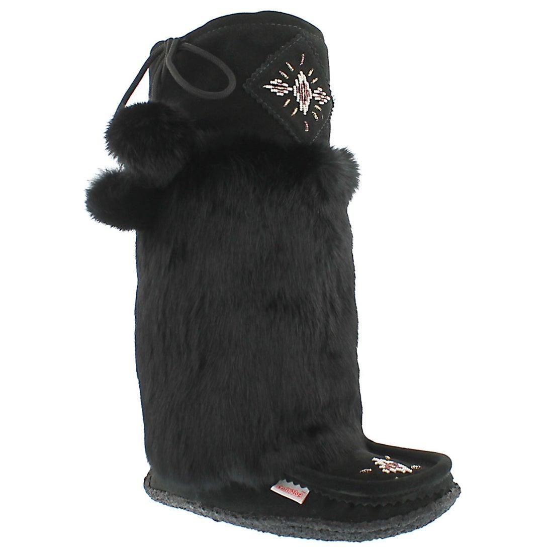Lds blk rabbit fur 16