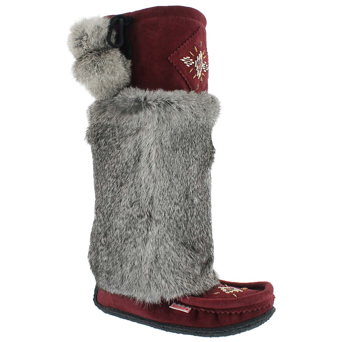 "Women's burgundy/grey rabbit fur 16"" mukluks"