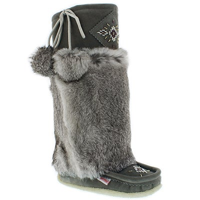 "SoftMoc Women's 980447 grey rabbit fur 16"" mukluks"