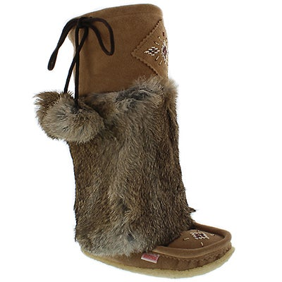"SoftMoc Women's 980447  mocha rabbit fur 16"" mukluks"