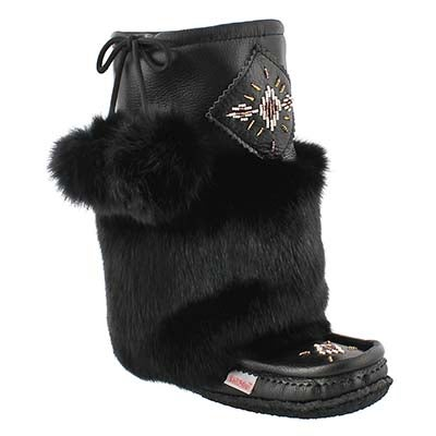 SoftMoc Women's 986447 black leather rabbit fur mukluks