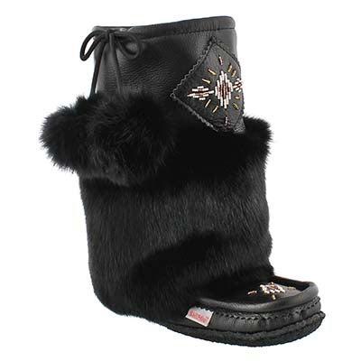 SoftMoc Women's 986447 black leather rabbit fur mukluks