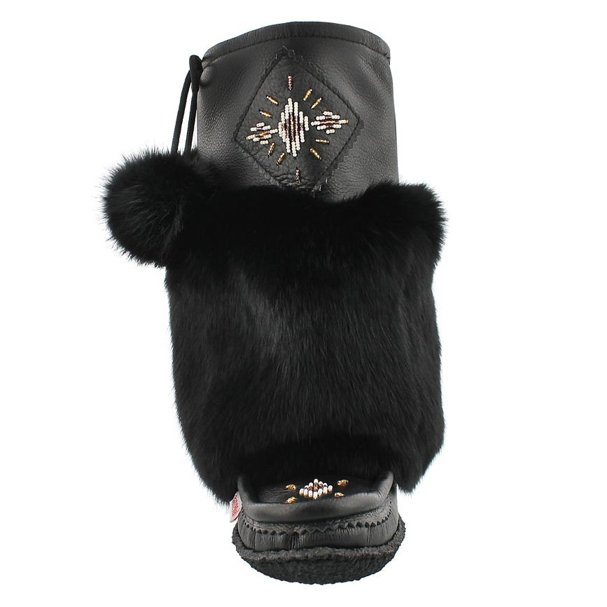 Lds black lthr rabbit fur mukluk