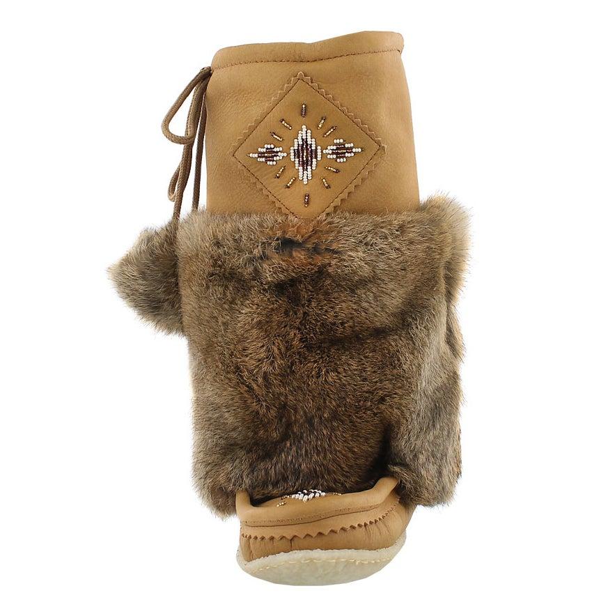 Lds cork lthr rabbit fur mukluk