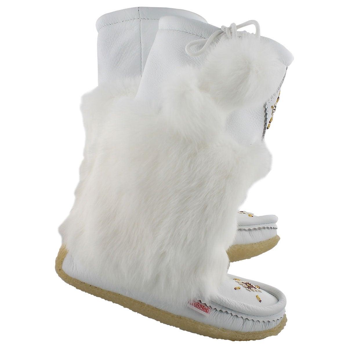 Lds white lthr rabbit fur mukluk