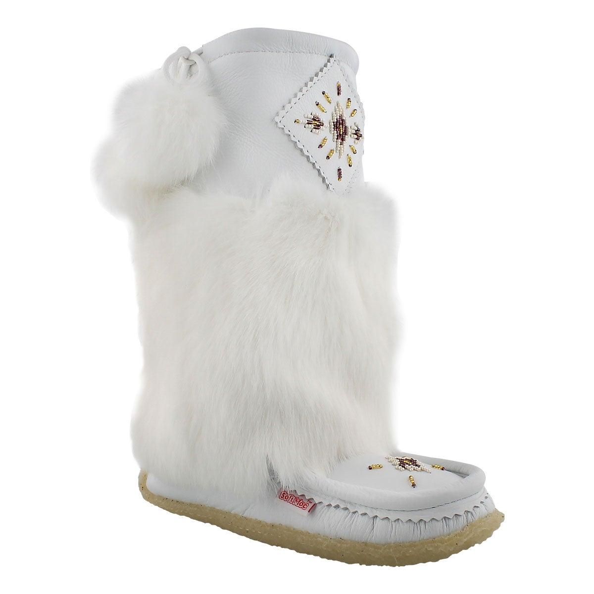 Women's 986447 white leather rabbit fur mukluks