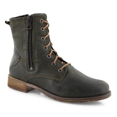 Lds Sienna 78 olive side zip combat boot