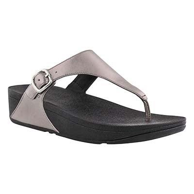 Lds Skinny pwtr side buckle thong sandal