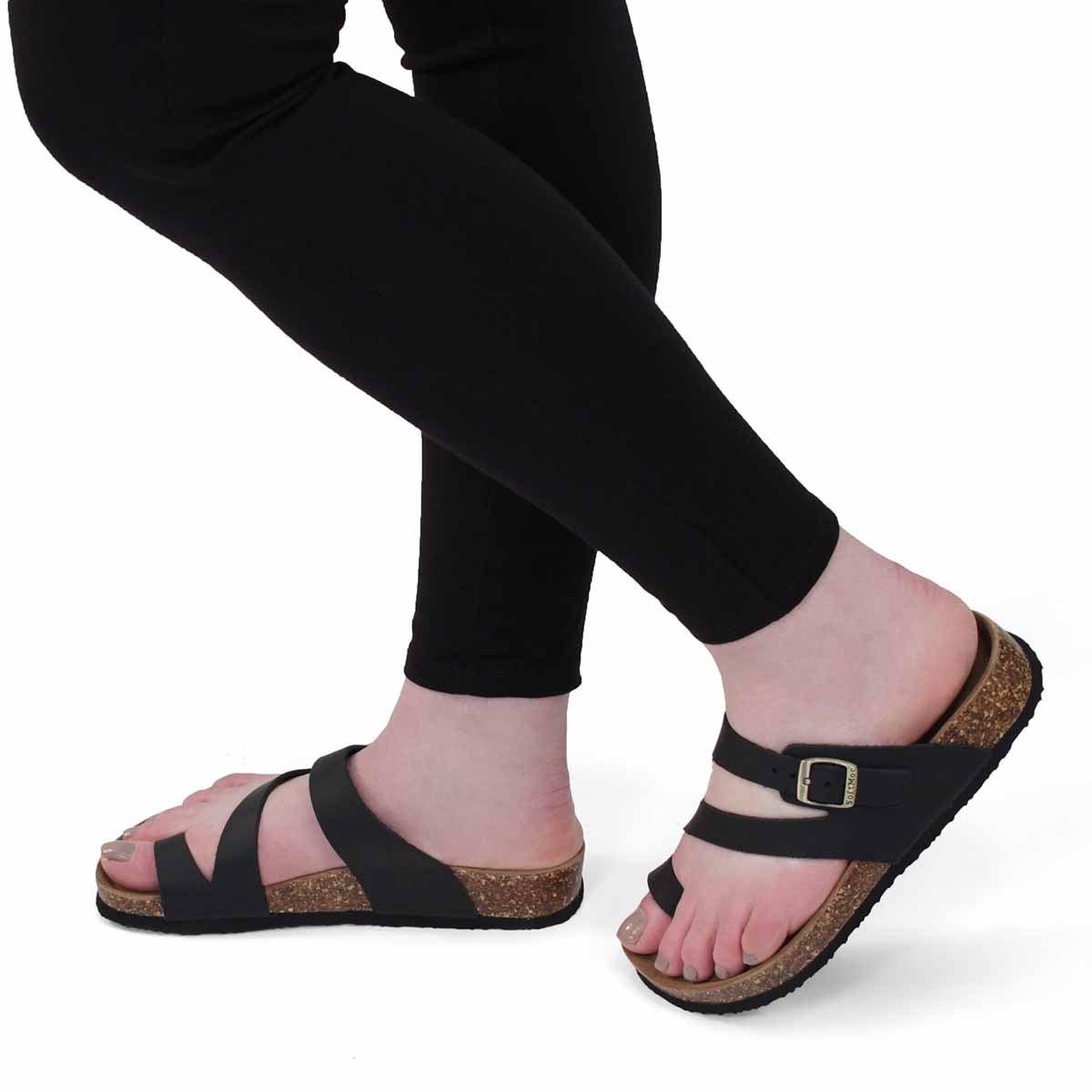 Lds Aileen 5 blk crz memory foam sandal