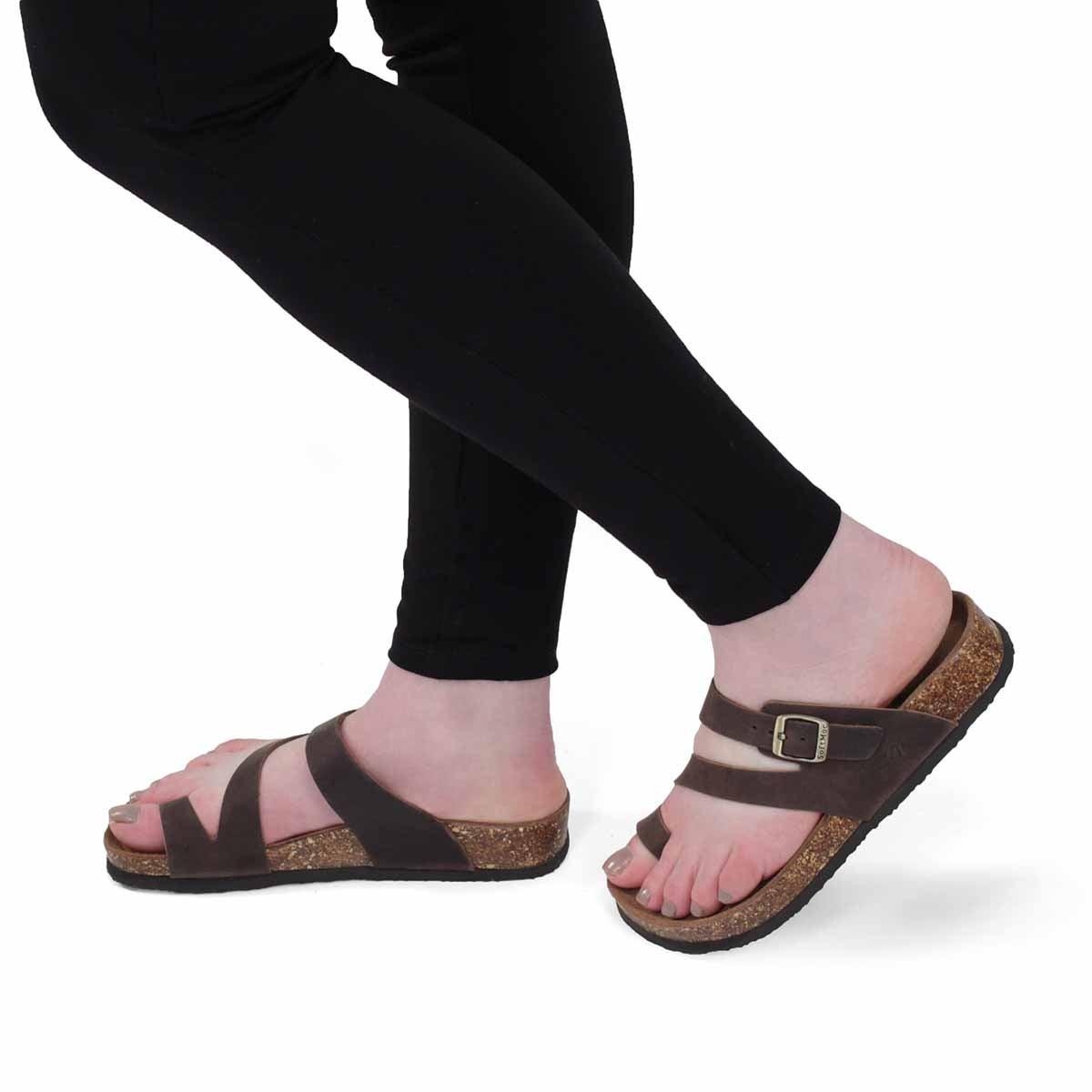 Lds Aileen 5 brn crz memory foam sandal