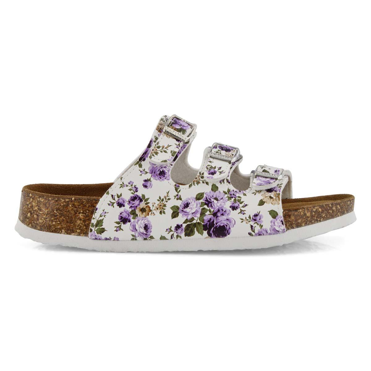 Lds Alexis 5 Flower ppl slide sandal