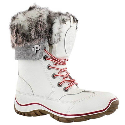 Pajar Women's ALICE NATIVE white lace up winter boots
