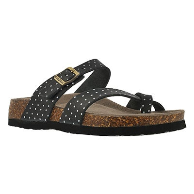 Lds Alicia3 blk/wht memory foam sandal