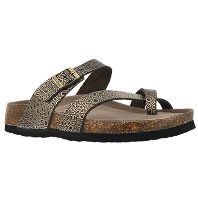 SoftMoc Women's ALICIA 3 gold snake memory foam sandals