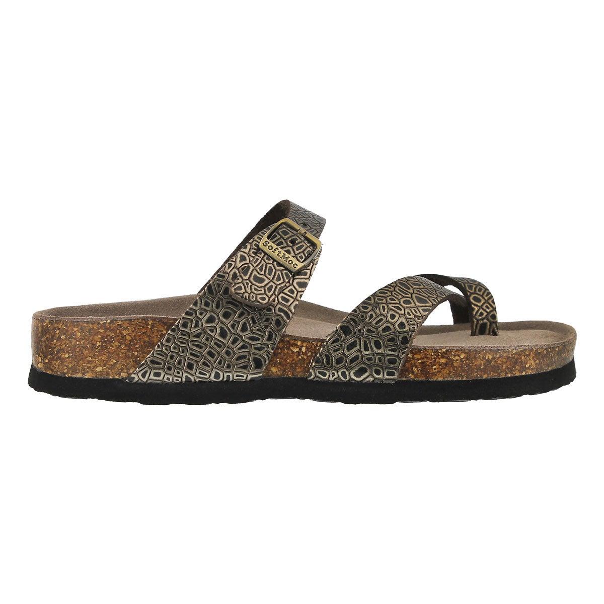Lds Alicia3 gold snk memory foam sandal