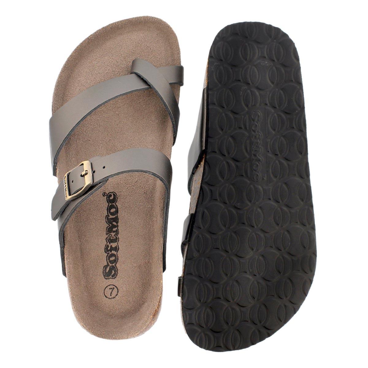 Lds Alicia3 pewter memory foam sandal