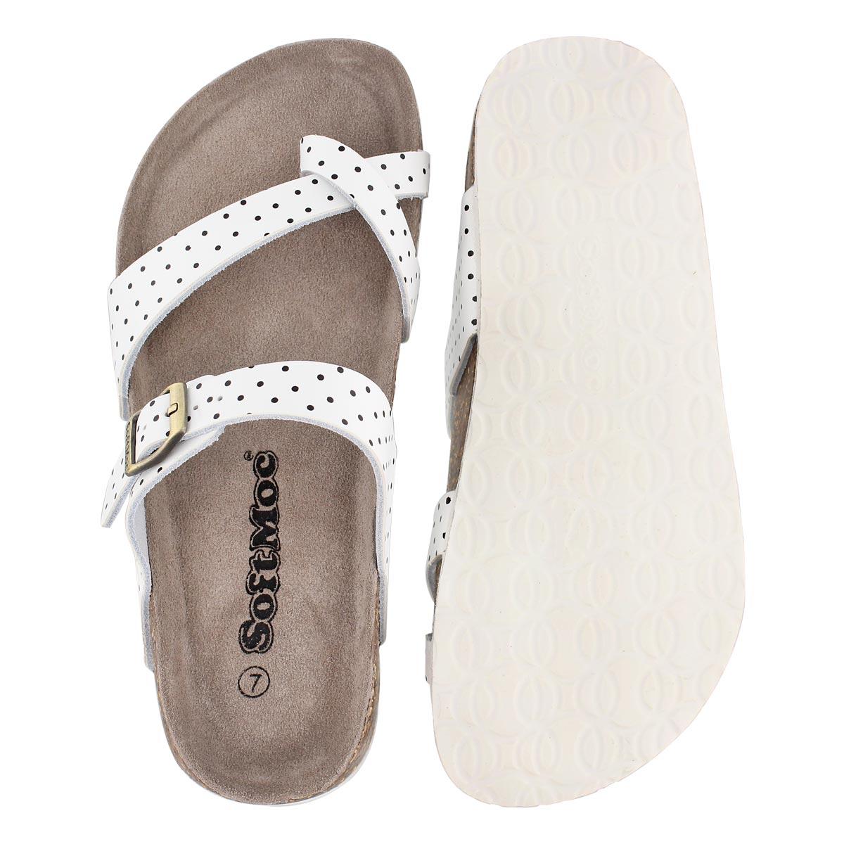 Lds Alicia3 wht/blk memory foam sandal