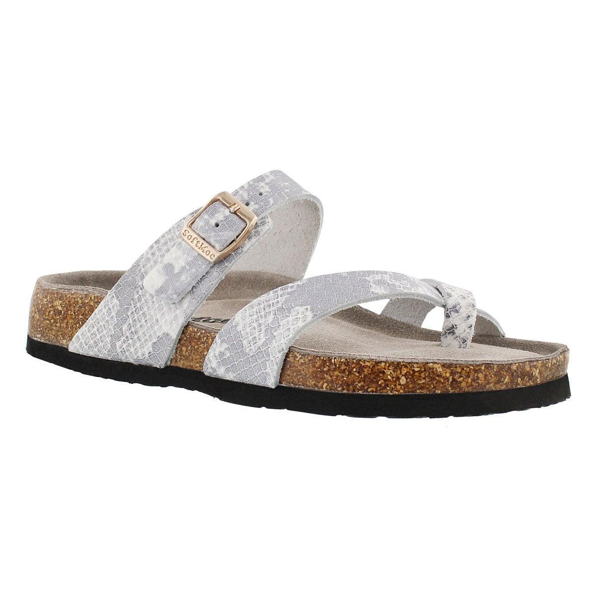 Lds Alicia3 wht-snk memory foam sandal