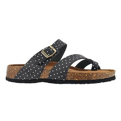 Lds Alicia 5 bk/wt memory foam sandal