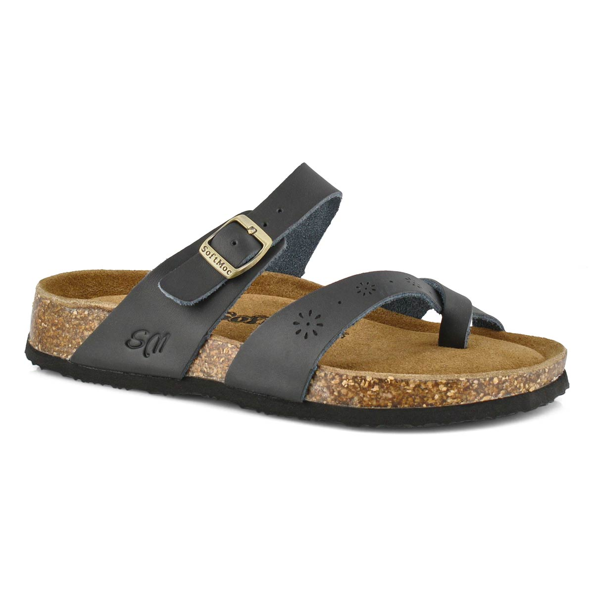Women's ALICIA 5 black perforated leather sandal