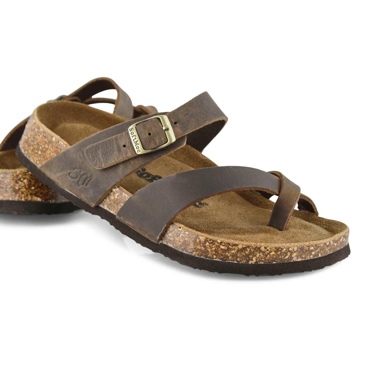 Lds Alicia 5 brn crz memory foam sandal