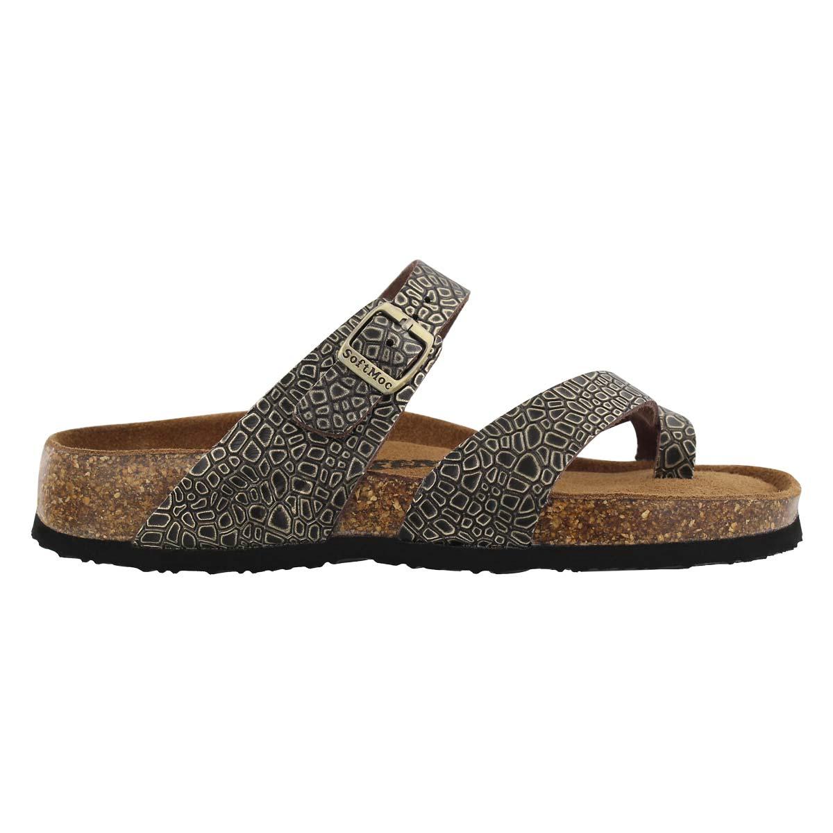 Lds Alicia 5 gld emb memory foam sandal