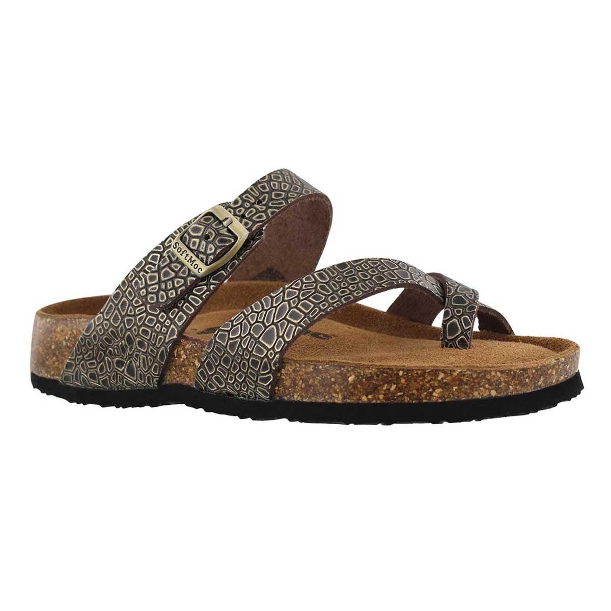 Women's ALICIA 5 gold embossed memory foam sandals