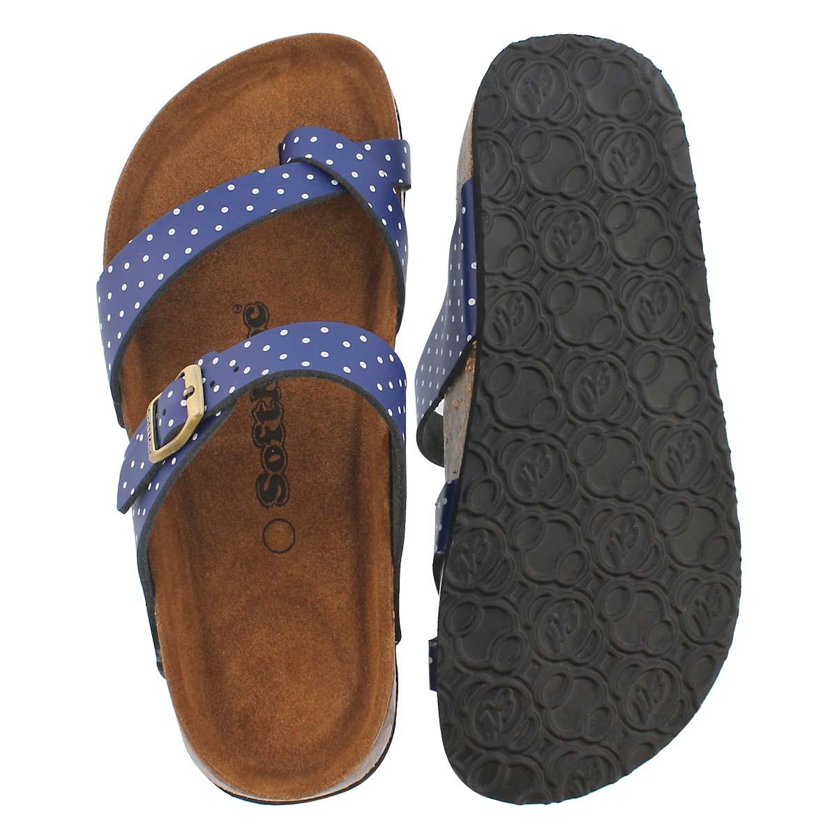 Lds Alicia 5 nvy/wt memory foam sandal