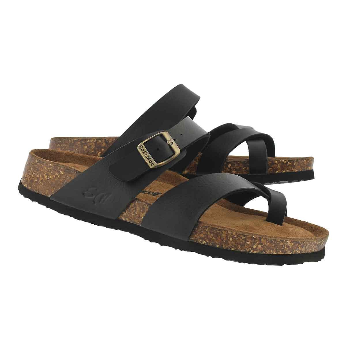 Lds Alicia 5 PU blk memory foam sandal