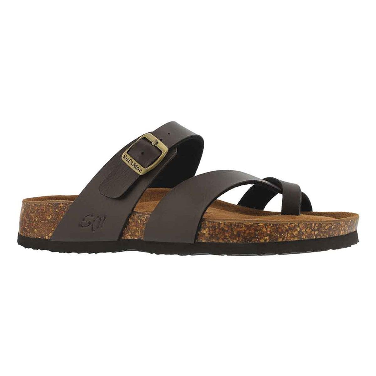 Lds Alicia 5 PU brn memory foam sandal