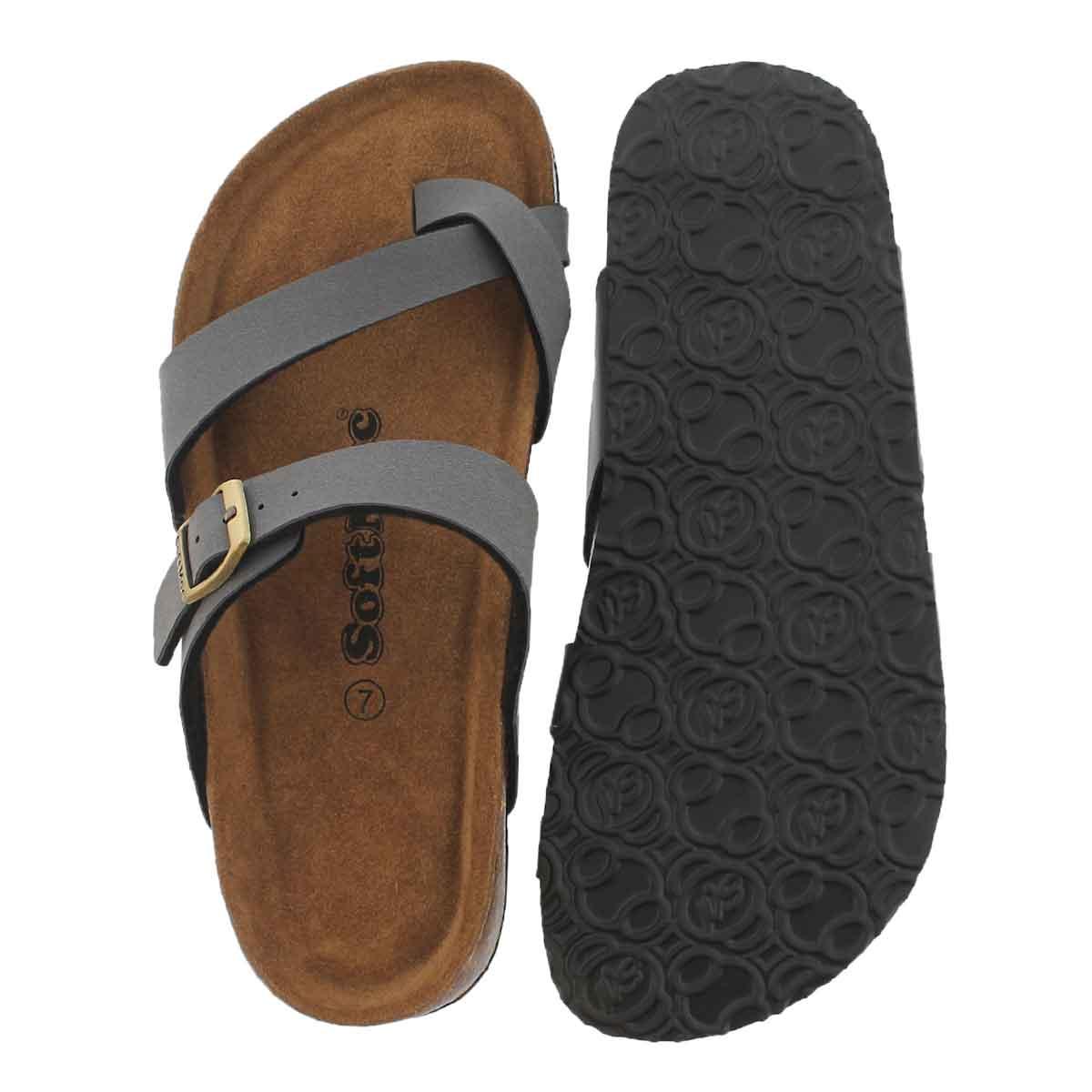 Lds Alicia 5 PU gry memory foam sandal